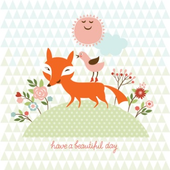 cute fox and bird