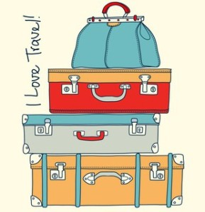 I love travel. Travel conceptual card with vintage suitcases in vector