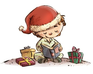 nio en navidad con libros