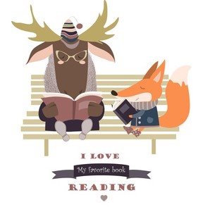 Cute fox and funny elk reading books on bench