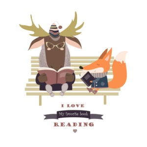 Cute fox and funny elk reading books on bench. Vector isolated illustration