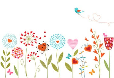 Floral background with hand drawn flowers, butterflies, bird and space for your text.