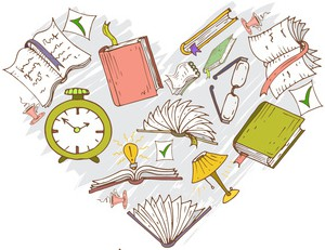 Vector stylized heart with hand drawn cartoon books